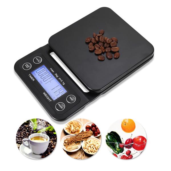 3 kg 0.1g Digital Kitchen Scale + timer Home Bar Alimentos Café Joyería Precisa herramientas de pesaje con luz de fondo