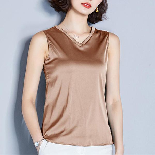 Kore Moda İpek Kadınlar Bluzlar Kolsuz Bayan Tops ve Bluzlar Artı boyutu XXXL Kadınlar Gömlek blusas Femininas Elegante