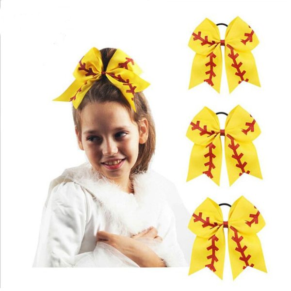 "7"" Softball Team Baseball Cheer Bows Handmade Yellow Ribbon and Red Glitter Stiches with Ponytail Hair Holders for Cheerleading DHL FJ367"