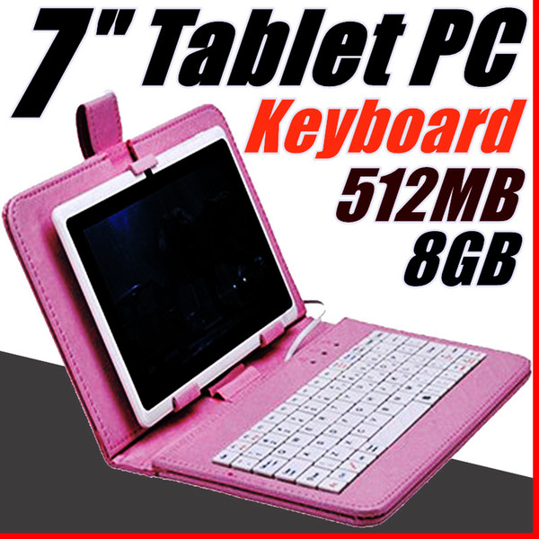 top popular 168 Q88 7 inch Android 4.4 Allwinner A33 Capacitive Screen Quad Core 512MB 8GB Dual Camera External Tablet PC with keyboard A-7PB 2021
