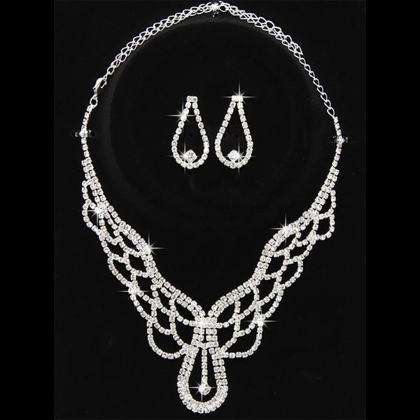 Collar de mujer Pendientes Set Rhinestone Incrustaciones Decoraciones Joyería Traje para novias Wedding Party KQS8