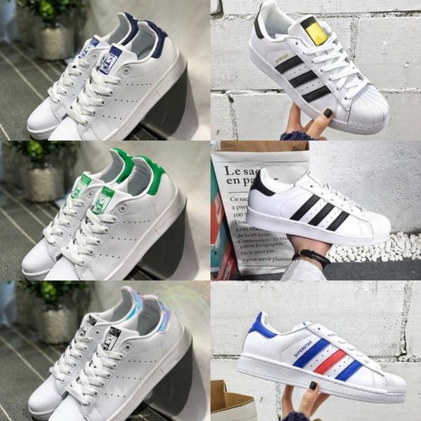 2019 adidas superstar Shoes New superstars Schuhe Schwarz Weiß Gold Hologramm Junior Superstars 80er Jahre Pride Turnschuhe Super Star Günstige Damen Herren Sportschuhe