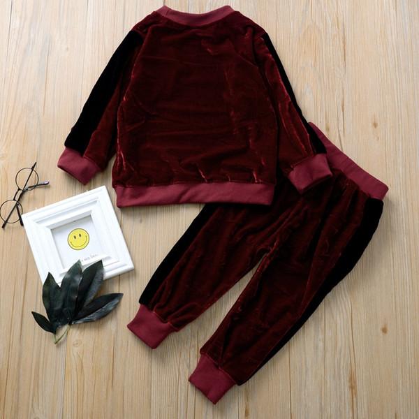 2019 Autunno Inverno Velvet capretti neonate copre gli insiemi O-Collo manica lunga T-shirt top e pantaloni lunghi set di vino rosso due pezzi Outfit
