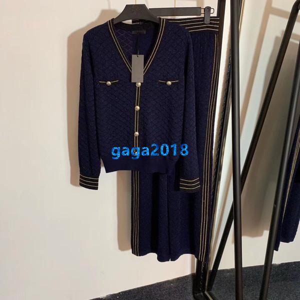 haut de gamme femme fille pantalons tricotés laine cardigan veste col v manches longues top chemise blouse jambe large legging droit pantalon costume de mode