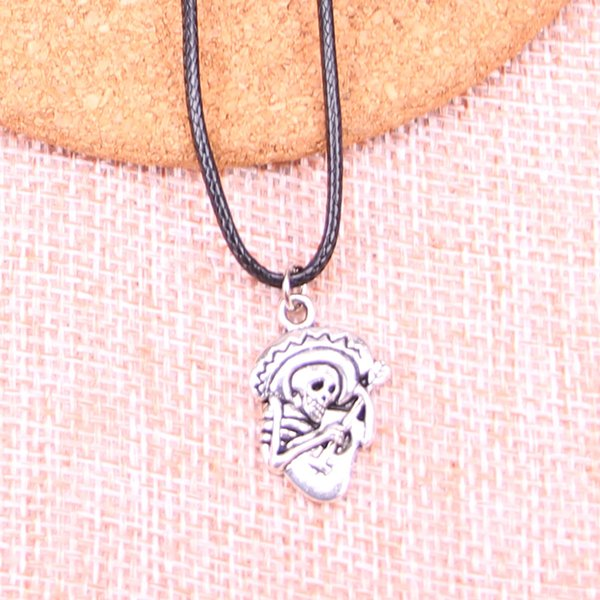 New Durable Black Faux Leather Antique Silver 22*15mm skull in sombrero with guitar Pendant Leather Chain Necklace Vintage Jewelry Dropshipp