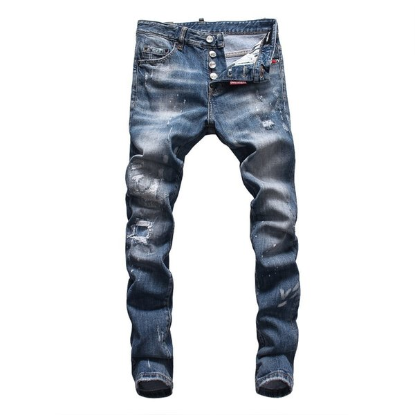 Denim jeans uomo denim Nuovo nel 2019 vendono come le torte calde Alta qualità moda economici all'ingrosso Slim Fit Nostalgico Straight Letter stampa