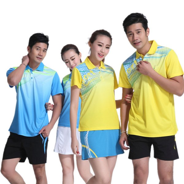 D6 Badminton Suit Sportswear for Men and Women Short Sleeve T-shirt for Leisure Running Y16304