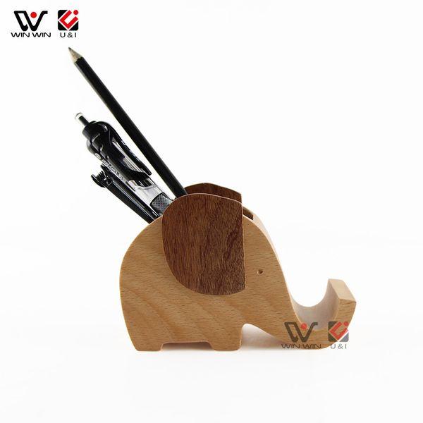 2019 Best Fashion Wholesale Price Elephant Wood Mobile Phone Holder Wood Brush Pot Custom Logo Wholesale