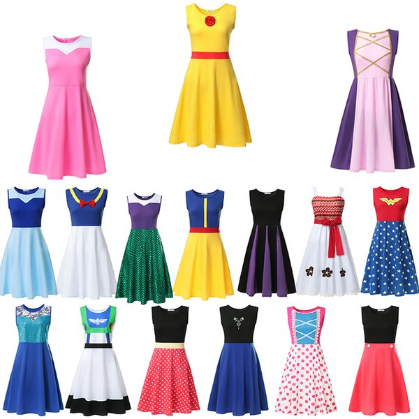 best selling 16Style New Cute Mother Clothes Adult Summer Cotton Print sleeveless Casual For girl women Elegant Dresses cosplay Halloween Party S-XXL BY