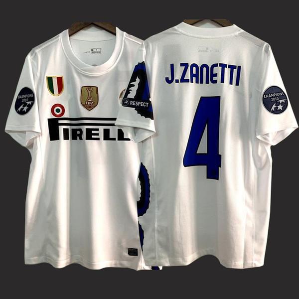 İnter Milan Retro Fußball-Jersey-10 11 Weinlese-Fußball-Uniform J.Zanetti Sneijder Maicon Milito weiß klassisches Fußballhemd