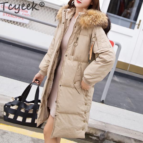 Tcyeek Long Down Parka Women Winter Down Coat Female 90% Duck Jacket Real Raccoon Fur Hood Warm Elegant Outwear 2019 LW1585