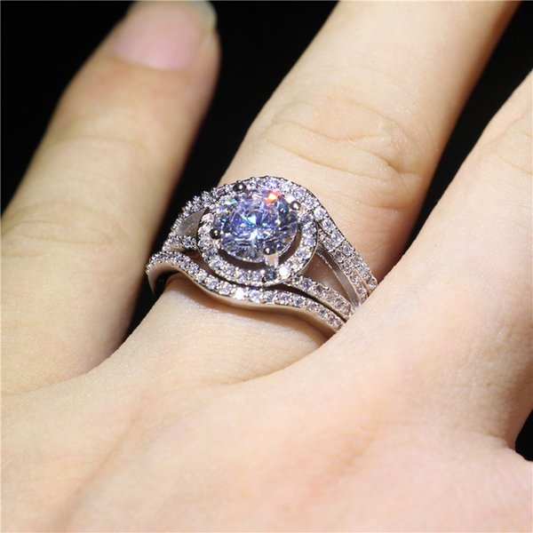 UpPoint 925 Silver Filled Wedding Engagement Band Ring Set Round Cut White Topaz Diamonique CZ Rings For Women Unique Jewelry Gift Size 5-10