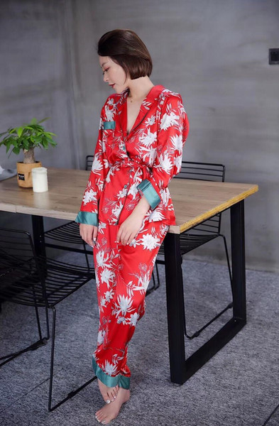 Sexy Lingerie Women Satin Nightdress Silk Lace Kimono Nightgown Sleepwear Sexy Robe V-neck Summer Lounge Set Satin Pyjamas M L