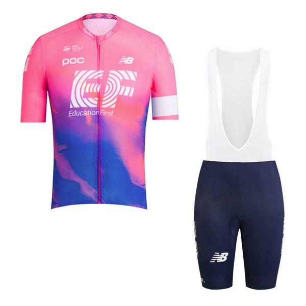 EF Education First Team Radtrikot Kurzarm Bike Shirt Trägerhose Set Sommer Quick Dry Herren Rennrad Bekleidung 60508