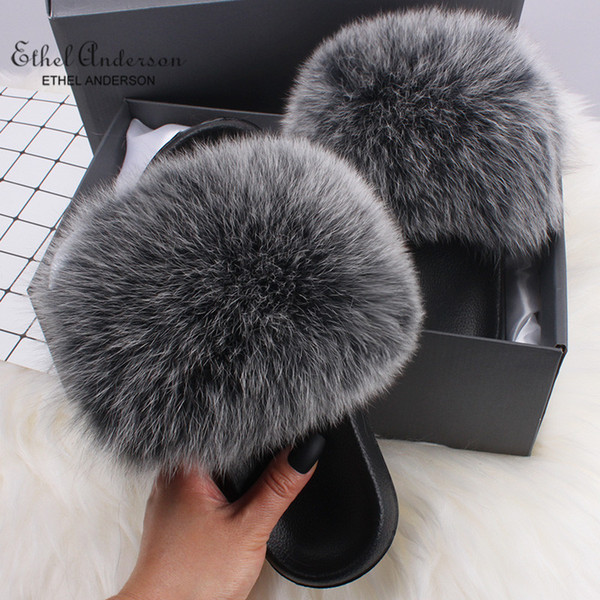 best selling Ethel Anderson Fluffy Slippers Real FOX Fur Slides Indoor Flip Flops Casual Shoes Woman Raccoon Fur Sandals Vogue Plush Shoes T200106
