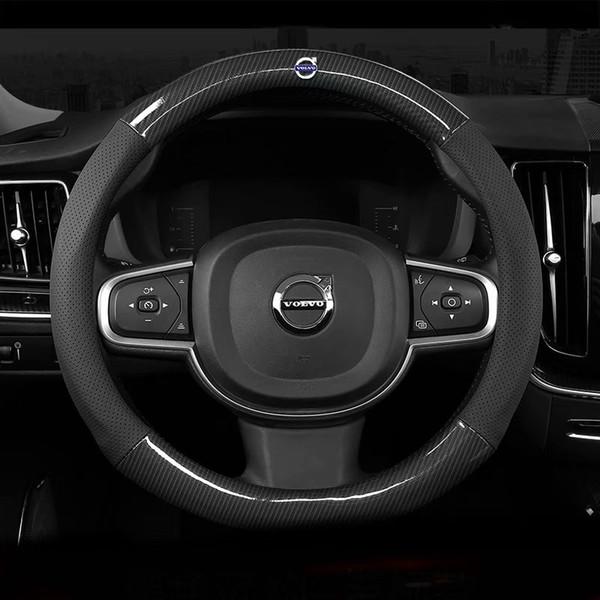 Cuir Volants-Car Cover 37 38cm pour 15Dans Volvo S40 V40 XC40 C30 V50 S60 V60 Xc60 XC70 S80 S80L Xc90 S90 V90 V70 C70