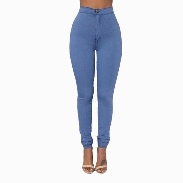 2017 Chegada Nova Magro Jeans Para Mulheres Skinny cintura alta doce cor Denim Calças Lápis Calças de trabalho estiramento partido preto cintura