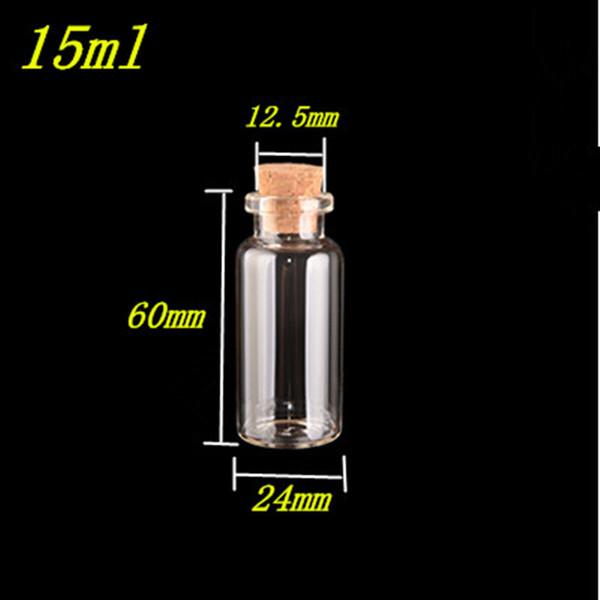 100 unidades 24x60x12.5 Garrafas mm de vidro pequeno com rolhas DIY 15ml claro e transparente Frascos de vidro Contentores frascos