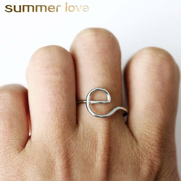 Hot Sale Letter Ring for Women Creative Design E M C K R Y H Initial Alphabet Silver Gold RingFashion Jewelry Gift