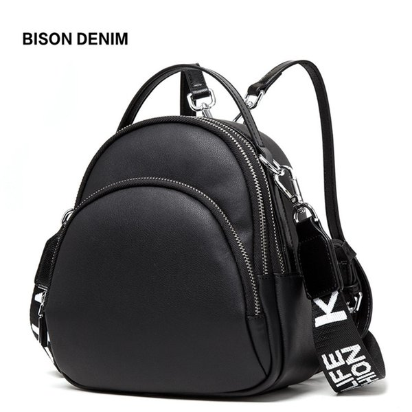 BISON DENIM Multifunction Backpack Female Genuine Leather Ladies Shoulder Bags Brand Small Women Backpack mochila feminina N1553 T190915