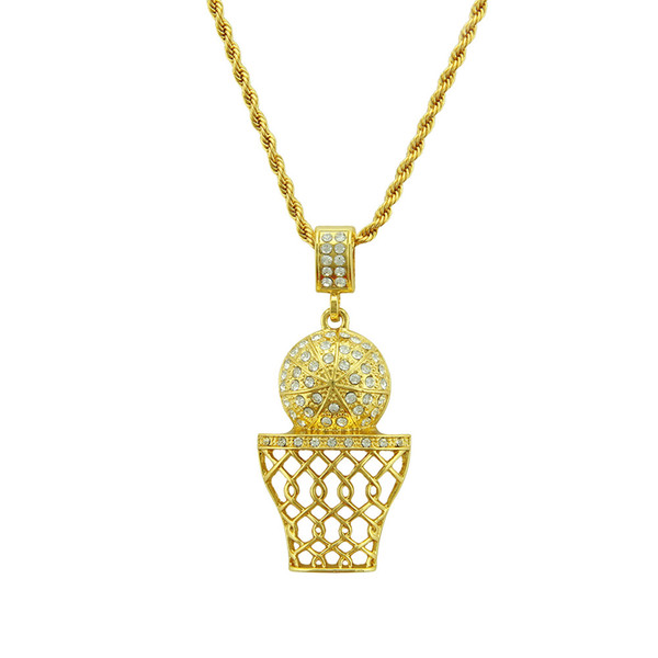 New Design Hip Hop Gold Basketball Net Pendant Necklace High Grade Full Crystal Cuban Chain Necklace Jewelry For Man