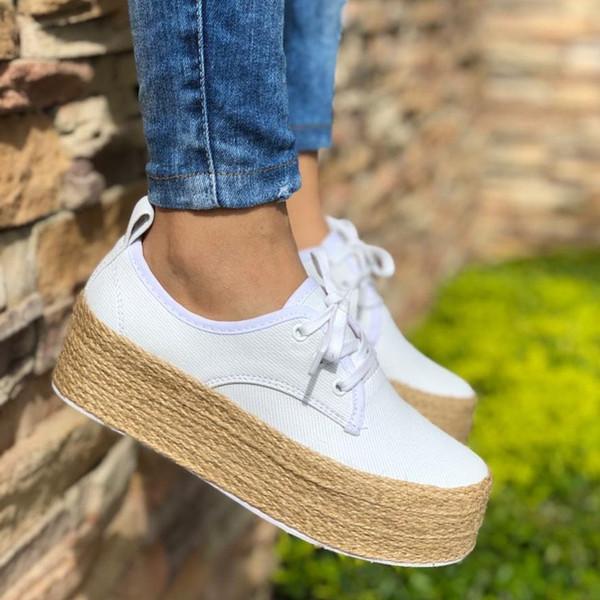Laamei 2019 Moda Kadınlar Bayanlar Espadrille Ayakkabı Tuval Kalın alt Flats Ayakkabı Kızlar Lace up Yuvarlak Ayak Rahat