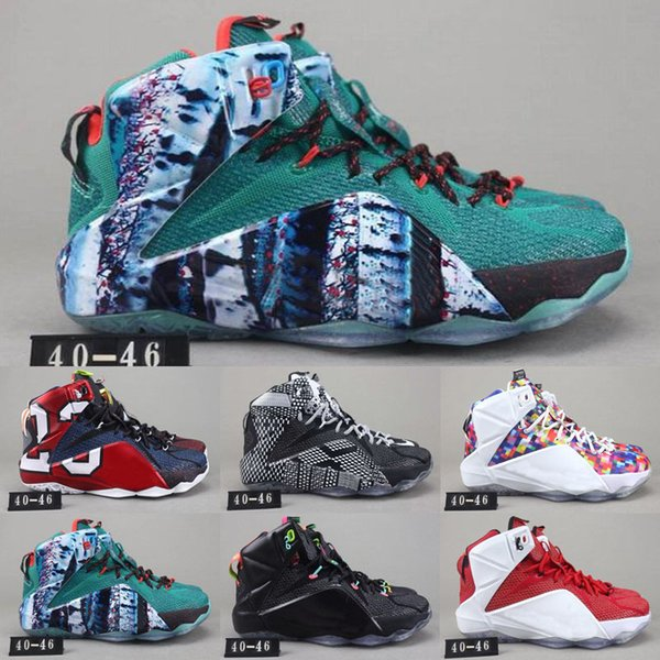 Wholesales 2019 LeBron 12 A.D EP Outdoor Shoes For Baby Kids Men Bryant LeBron xii Elite KB 12s Elite Low Outdoor Shoe US 7-12