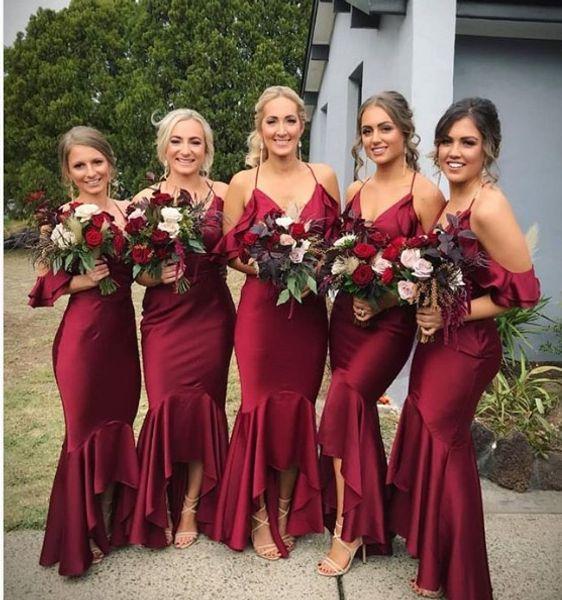 Sexy Burgundy Mermaid Bridesmaids Dresses 2019 Cheap Designer V neck Short Front Long Back Satin Prom Bridesmaid Dress For Wedding Brides