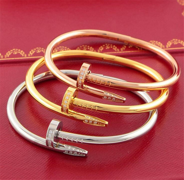 316l titanium teel brand name nail punk lover women and man bangle couple jewelry with original box et