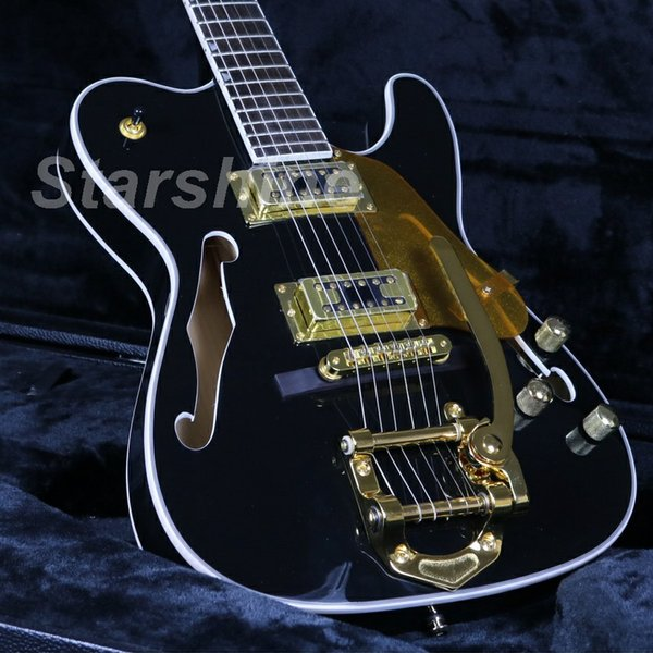 JEB6073 Top Quality Semi Hollow Body Chitarra elettrica Gold Hardware Black Painting