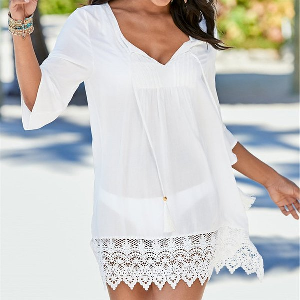 04a67432fe41d 2019 Cotton Beach Cover up Lace Sarong Swim Cover up Pareos de Playa Mujer  Beachwear Vestido