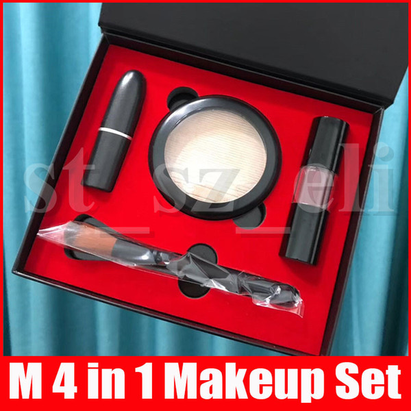 best selling New M Makeup Set Chili Matte Lipstick Lipgloss Lip Gloss Face Highlighter Powder Make Up Brush 4 in 1 Cosmetic Kit