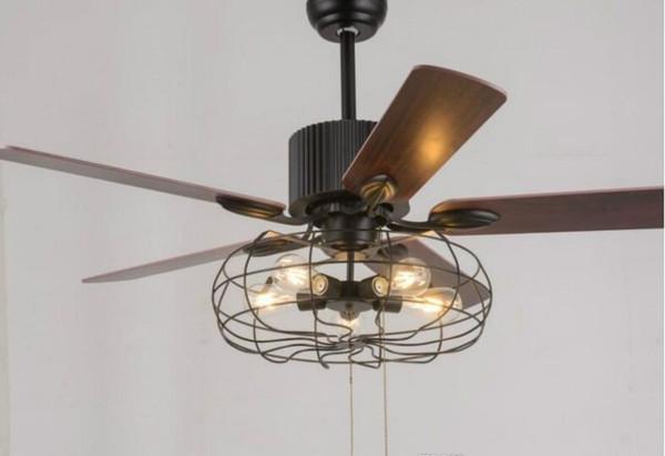 Loft de techo Ventilador de la vendimia luz E27 Edison 5 ventiladores de techo Lámparas Eléctricas pendiente de la luz 110V 220V 52 En. 5 hojas de madera (bombillas incluidos) MYY