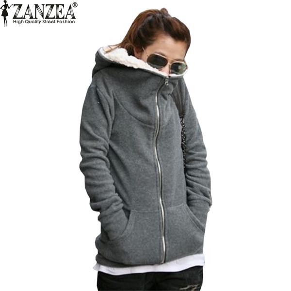 ZANZEA 2017 Femmes Automne Hiver Manteau Chaud Épais Polaire Coton Zip Up Hoodies Sweat Veste À Capuche Survêtement Plus La Taille
