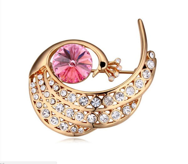 Envío gratis joyería de moda cristal austriaco broche de pavo real perla de gama alta joyería de fábrica al por mayor venta directa adornos broches