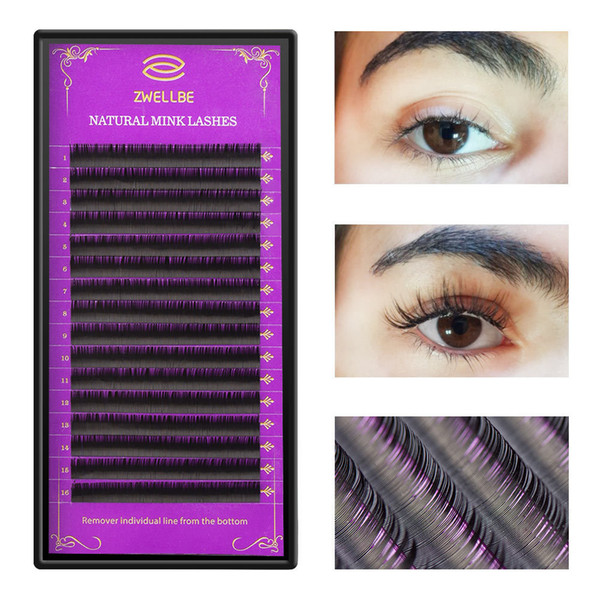 zwellbe 16Rows/Case JBCD Curl Eyelashes Extension Cilia 8-15 mm Lashes Extension for Faux Mink Individual Eyelash Extension D19011701