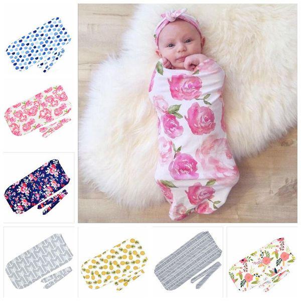 Sacos de Dormir do bebê Chapéus INS Criança Swaddles Caps Sacos de Sono de Desenhos Animados do Dinossauro recém-nascido Tubarão Fowers Impresso Casulo Swaddling Blanket TL76