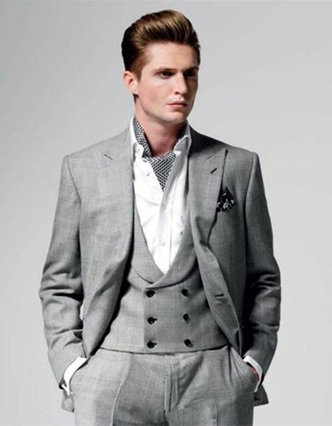 Hot Sell Slim Fits Groom Tuxedos Peak Lapel Mens Coat Prom Blazers Business Suits (Jacket+Pants+Vest+Tie) W:040