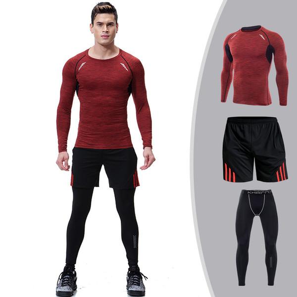 Compre 3 Unids Hombres Traje Deportivo Chándal Elástico De Manga Larga Sudadera Leggings Medias Camisa + Pantalones De Chándal + Short Running Jog