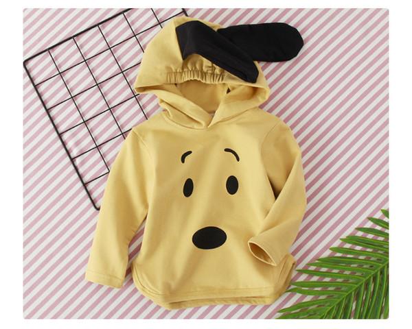 Nueva llegada del envío gratis 2019 primavera otoño bebé GirlHooded abrigo de manga larga chaqueta de dibujos animados gran oído traje de perro traje