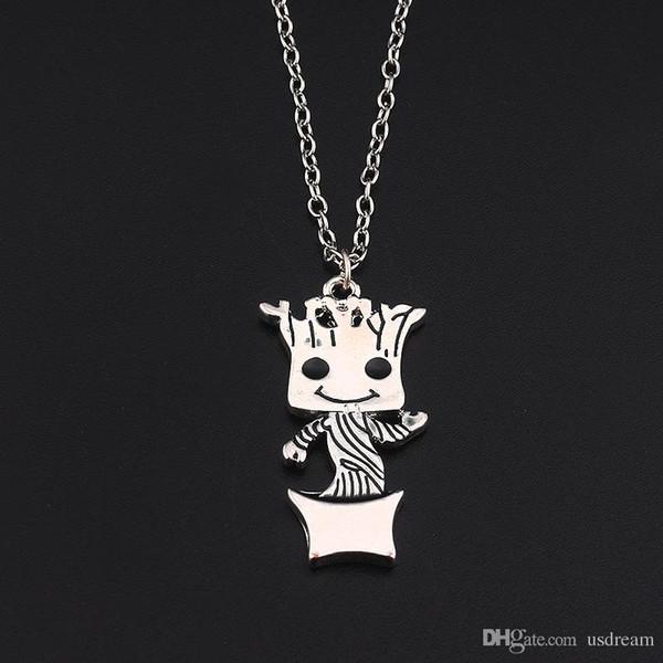 Gardiens de la Galaxie Groot Collier Argent Plaqué Mini Figure Bébé Groot Pendentif Chaîne Femmes Enfants Mode Bijoux DROP SHIP 162343