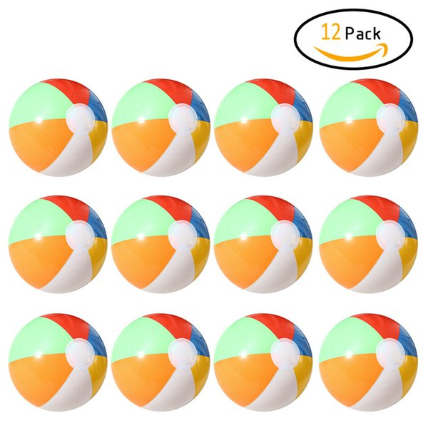 12 pcs Inflatable 6 Color Traditional Beach Balls Pool Party Toys Birthday Favors for Unisex Beach Pool Sport Toys