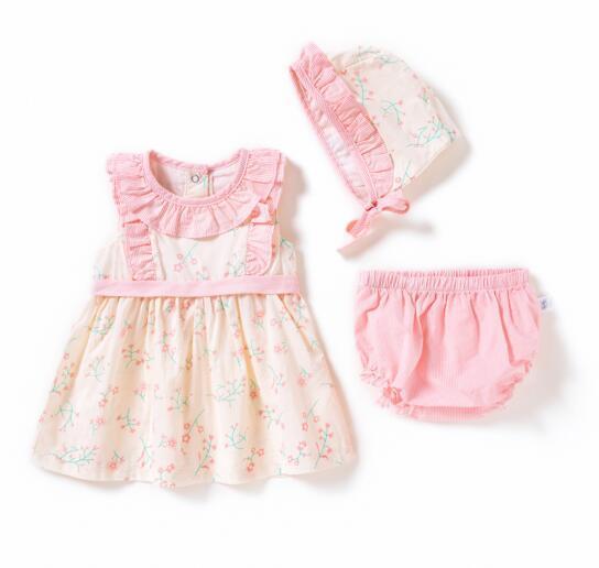 kids designer clothes girls dress short Sleeve o-neck short sleeve cute flower Print dress +hat kids causal girl summer elegant party dress