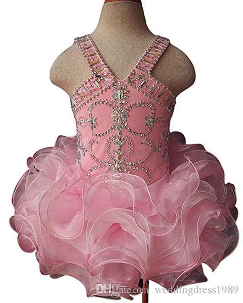 Cute 2018 Ruffle Beads Cupcake Birthday Girls Pageant Dresses Short Girl Communion Dress Kids Formal Wear Flower Girls Dresses for Wedding