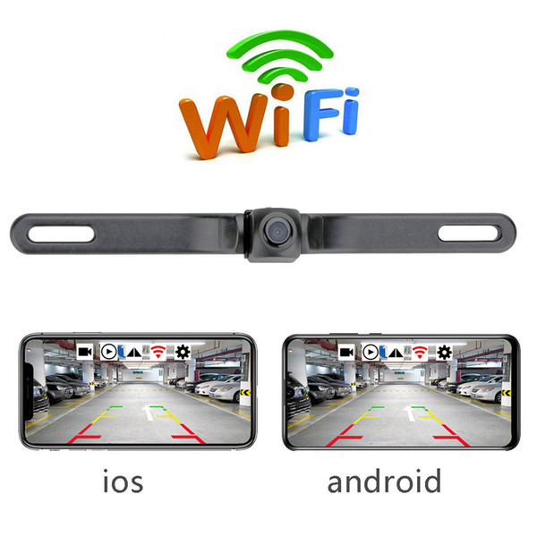top popular HD Rearview Camera Waterproof License Plate WIFI Back Up Camera Vehicle Auto Car Reverse Backup Parking Night Vision 2021