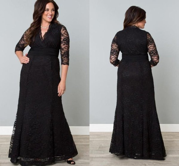 Black Full Lace Plus Size Formal Dresses V-Neck 3/4 Sleeve Mermaid Evening Gowns Floor Length Mother Of The Bride Guest Dress
