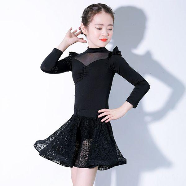 Fashion Latin Dance Costume For Girls Long Sleeve Tango Cha Cha Samba Dancing Clothes Ballroom Rumba Practice Dance Wear DC1448