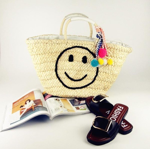 Caker Brand Nice Women Large Big Straw Handbag Fashion Smile Face Embroidery Shoulder Bags Women Colorful Bags