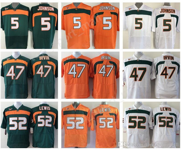 promo code f13c2 c14b8 2019 Miami Hurricanes College 52 Ray Lewis Jersey Men Orange Green White 5  Andre Johnson 47 Michael Irvin Football Jerseys University Stitched From ...