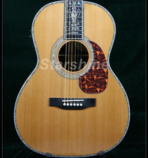 Guitarra acústica de alta calidad ZZ-OMN Abeto rojo sólido Parte posterior de ébano Diapasón de ébano Cola de milano Articulación vertebral Hueso Tuerca Sillines Full Aba